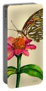 Passion Butterfly On Zinnia Portable Battery Charger
