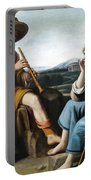 Pastoral Scene With A Shepherd Family Against A Countryside Background Portable Battery Charger