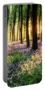 Sunrise Path Through Bluebell Woods Portable Battery Charger