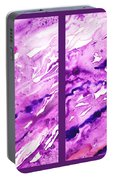 Path To The Unknown Diptych In Purple Portable Battery Charger