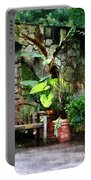 Patio Garden In The Rain Portable Battery Charger by Susan Savad