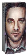 Paul Rudd Portrait Portable Battery Charger by Olga Shvartsur