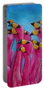 Peace Love And Flamingos Portable Battery Charger by Patti Schermerhorn