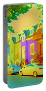 Peaceful Painted Pastel Rowhouses Printemps Plateau Montreal Scene Du Rue Carole Spandau Portable Battery Charger