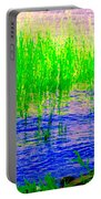 Peaceful Stream  Quebec Landscape Art Tall Grasses At The Lakeshore Waterscene Carole Spandau Portable Battery Charger