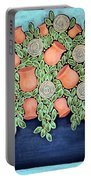 Peach Blossoms And Licorice Swirls Portable Battery Charger