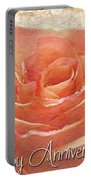 Peach Rose Anniversary Card Portable Battery Charger