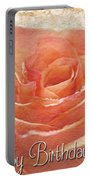 Peach Rose Birthday Card Portable Battery Charger