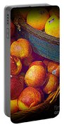 Peaches And Citrus With Blue Wooden Basket Portable Battery Charger