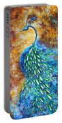 Peacock Abstract Bird Original Painting In Bloom By Madart Portable Battery Charger