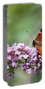 Peacock Butterfly  Inachis Io  On Buddleia Portable Battery Charger