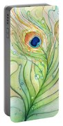 Peacock Feather Watercolor Portable Battery Charger