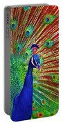 Peacock In Front Of Red Barn Portable Battery Charger