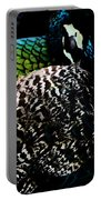 Peacock On Black Portable Battery Charger