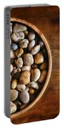 Pebbles In Wood Bowl Portable Battery Charger