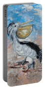 Pelican Beach Walk - Impressionist Portable Battery Charger