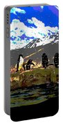 Penguins Line Dance Posterized 2 Portable Battery Charger