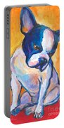 Pensive Boston Terrier Dog  Portable Battery Charger