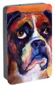 pensive Boxer Dog pop art painting Portable Battery Charger