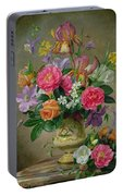Peonies And Irises In A Ceramic Vase Portable Battery Charger