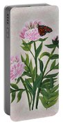 Peonies And Monarch Butterfly Portable Battery Charger
