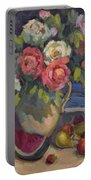 Peonies And Summer Fruit Portable Battery Charger