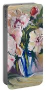 Peons In Blue Vase Portable Battery Charger