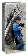 Peruvian Boy Gathers Wood Portable Battery Charger