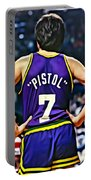 Pete Maravich Portable Battery Charger by Florian Rodarte