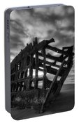 Peter Iredale Shipwreck Black And White Portable Battery Charger
