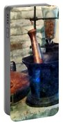 Pharmacist - Three Mortar And Pestles Portable Battery Charger by Susan Savad