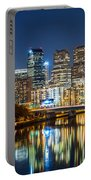 Philadelphia Cityscape Panorama By Night Portable Battery Charger