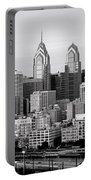 Philadelphia Skyline Black And White Bw Pano Portable Battery Charger