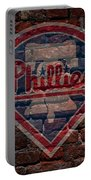 Phillies Baseball Graffiti On Brick  Portable Battery Charger by Movie Poster Prints