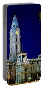 Philly City Hall At Night Portable Battery Charger