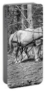 Photograph Of Horses Pulling Logs In Maine Forest Portable Battery Charger
