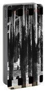 Pier Pilings Black And White Portable Battery Charger