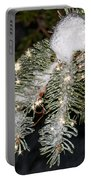 Pine Branch With Ice And Stars Portable Battery Charger