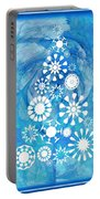 Pine Tree Snowflakes - Baby Blue Portable Battery Charger