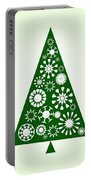Pine Tree Snowflakes - Green Portable Battery Charger