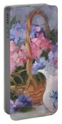 Pink And Blue Hydrangeas Portable Battery Charger