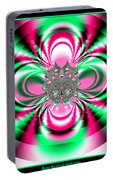Pink And Green Rotating Flower Fractal 74  Portable Battery Charger