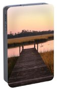 Pink And Orange Morning On The Marsh Portable Battery Charger
