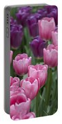 Pink And Purple Dutch Tulips Portable Battery Charger