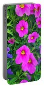 Pink And Purple Petunias Portable Battery Charger