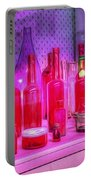 Pink And Red Bottles Portable Battery Charger by Kaye Menner