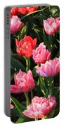 Pink And Red Ruffly Tulips Square Portable Battery Charger