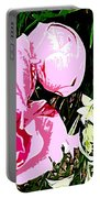 Pink And White Flowers Portable Battery Charger