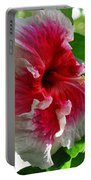 Pink And White Hibiscus Portable Battery Charger