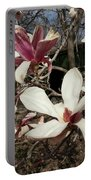 Pink And White Spring Magnolia Portable Battery Charger